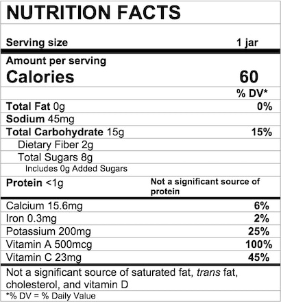 Nutrition Facts Sweet Potato Apple Carrot & Cinnamon