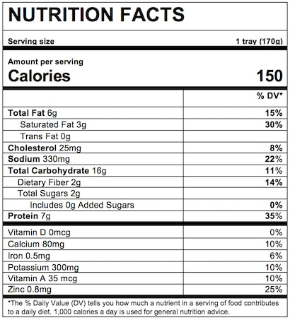 Nutrition Facts Mac & Cheese