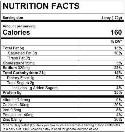 Nutrition Facts Pasta Shells & Cheese