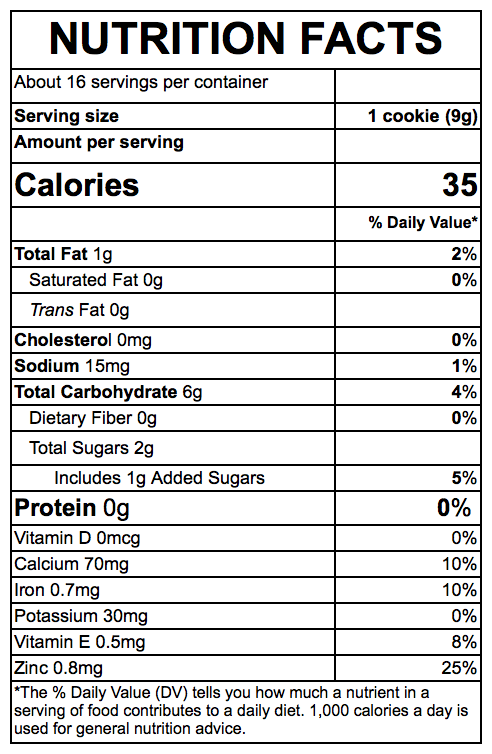 Nutrition Facts Banana Cookies