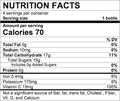 Nutrition Facts Apple Prune