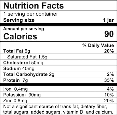 Nutrition Facts Chicken and Gravy