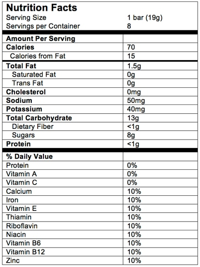 Nutrition Facts Soft Baked Grain Bars