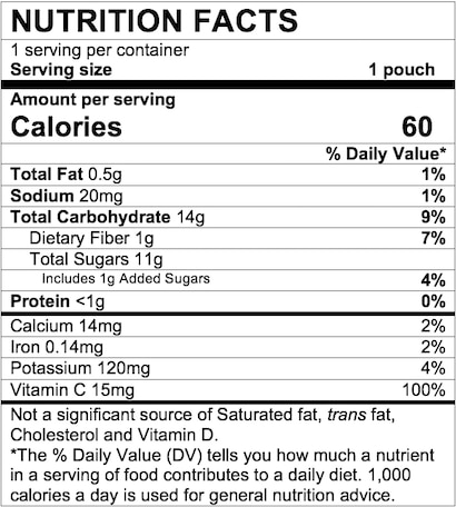 Nutrition Facts Apple Purple Carrot Blueberry with Yogurt