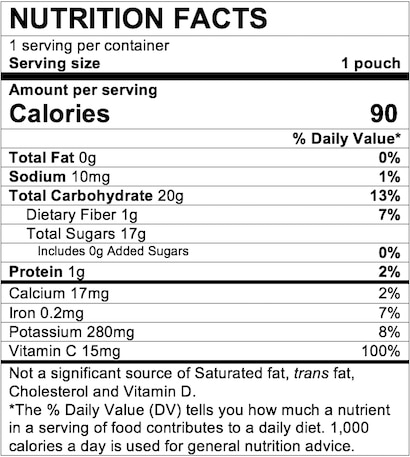 Nutrition Facts Banana Raspberry & Yogurt with Vanilla