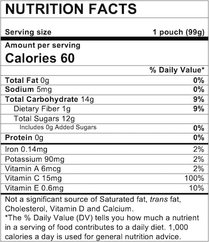Nutrition Facts Apple Mango Strawberry