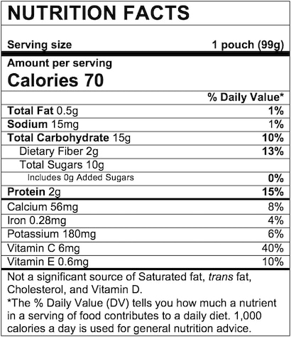 Nutrition Facts Banana Blueberry Purple Carrot Greek Yogurt Mixed Grains