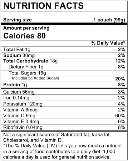 Nutrition Facts Fruit & Yogurt Peaches & Cream