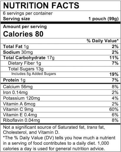 Nutrition Facts Fruit & Yogurt Very Berry