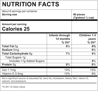 Nutrition Facts Carrot Mango Pineapple