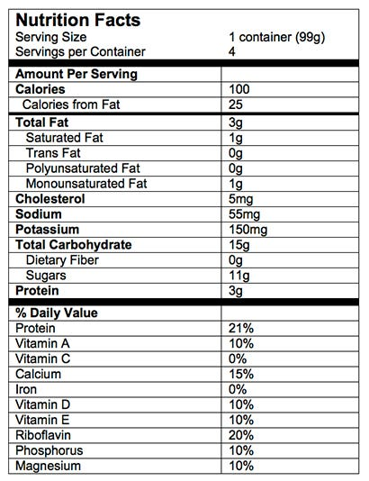 Nutrition Facts Yogurt Blends Snack