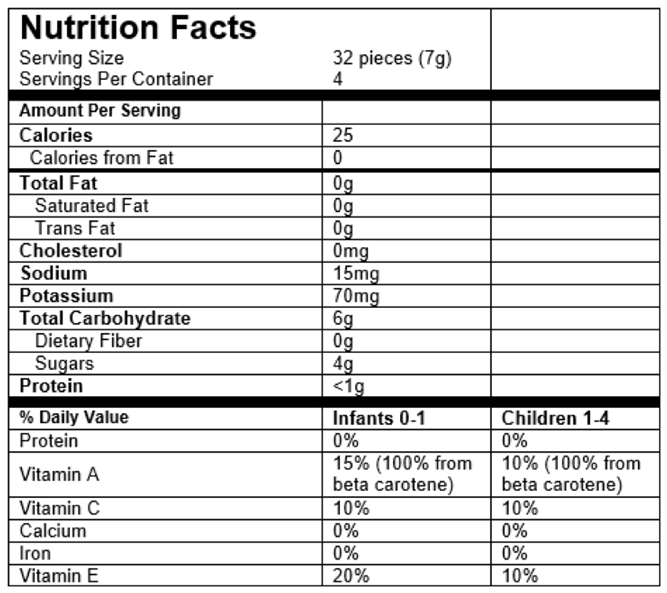 Nutrition Facts Fruit & Veggie Melts®
