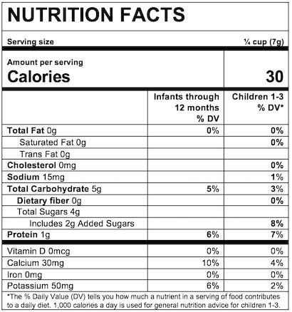 Nutrition Facts Organic Yogurt Melts®