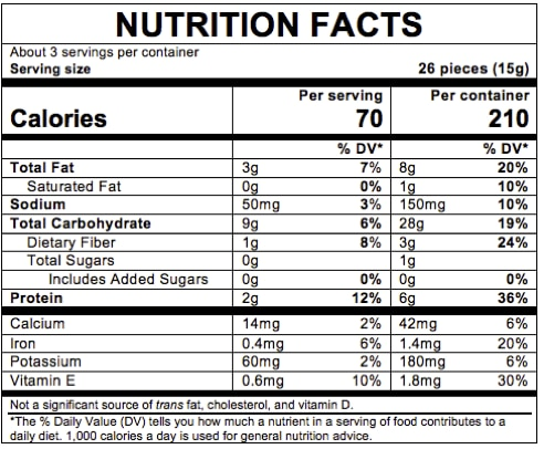 Nutrition Facts Organic Lil' Crunchies®