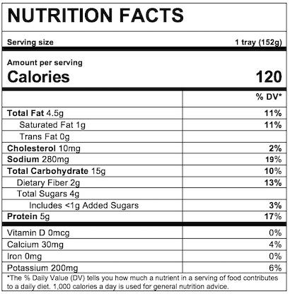Nutrition Facts Spiral Pasta in Turkey Meat Sauce