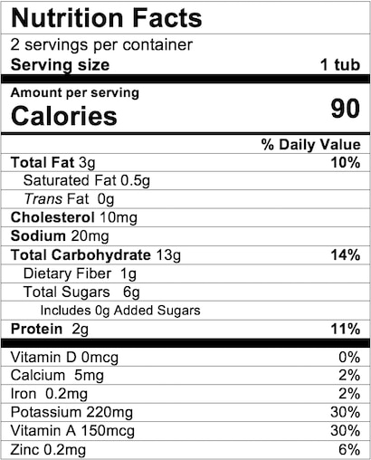 Nutrition Facts Sweet Potato Turkey with Whole Grains Dinner