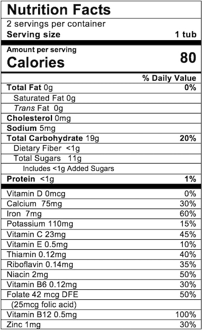 Nutrition Facts Apple Mango with Rice Cereal