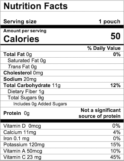 Nutrition Facts Apple Carrot Squash