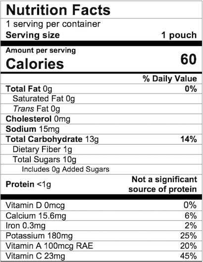 Nutrition Facts Mango Apple Carrot Kale