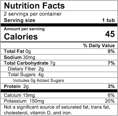 Nutrition Facts Pea Carrot Spinach