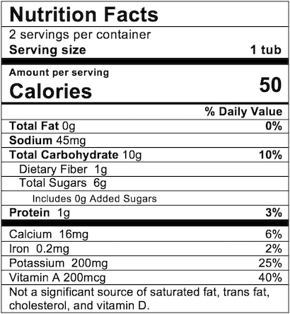 Nutrition Facts Carrot Sweet Potato Pea