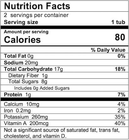 Nutrition Facts Sweet Potato Corn