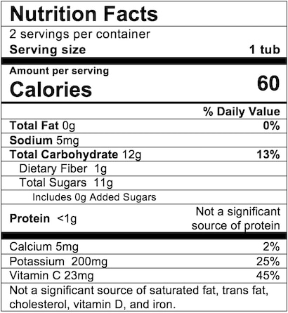 Nutrition Facts Apple Peach Squash