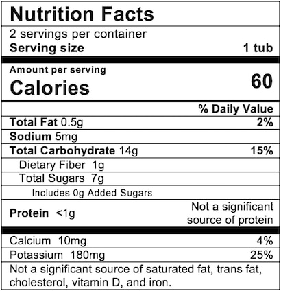 Nutrition Facts Squash Apple Corn
