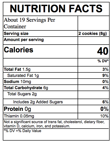 Nutrition Facts Organic Biscuits