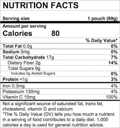 Nutrition Facts Pear Peach Oatmeal