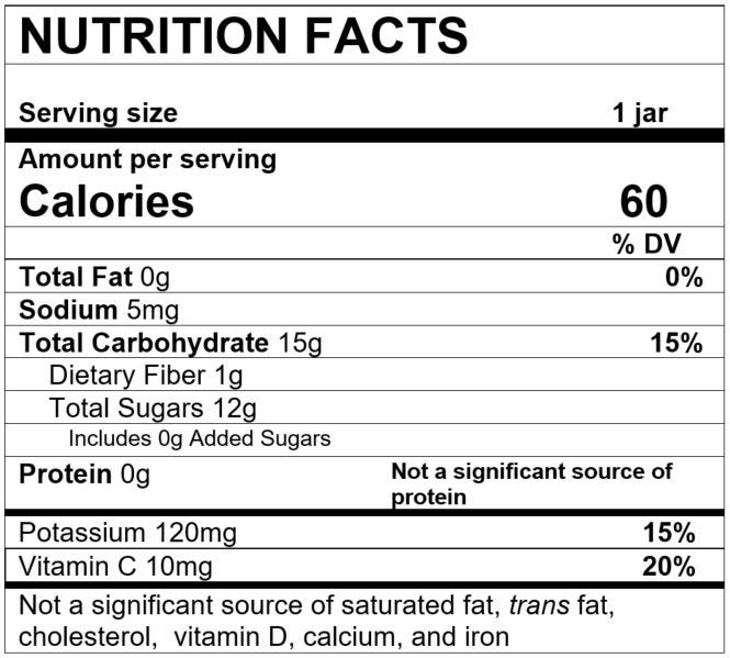 Nutrition Facts Apple Strawberry Banana