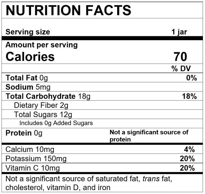 Nutrition Facts Pear Guava