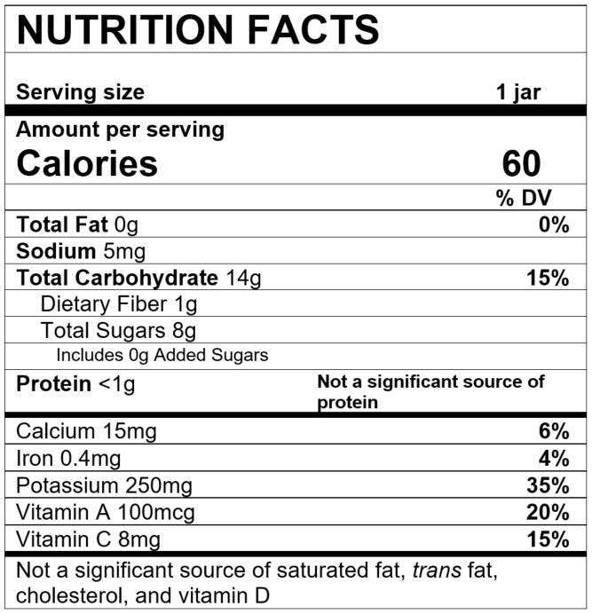 Nutrition Facts Squash Pear Pineapple