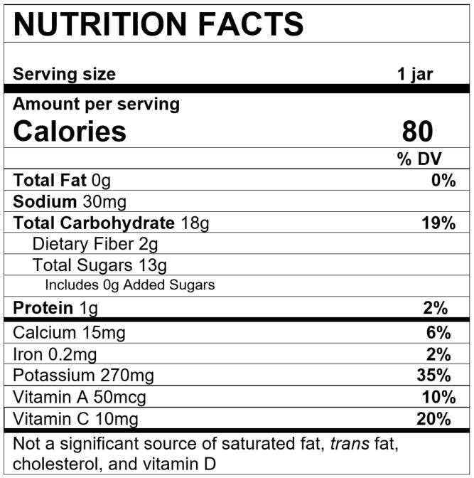 Nutrition Facts Sweet Potato Banana Orange