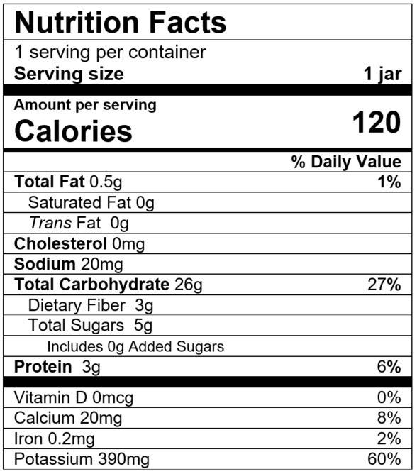 Nutrition Facts Pasta Primavera