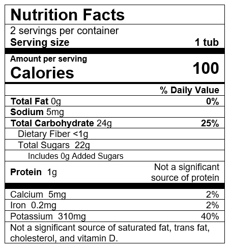 Nutrition Facts Banana Plum Grape