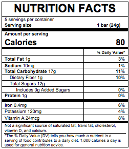 Nutrition Facts Organic Fruit & Veggie Bars