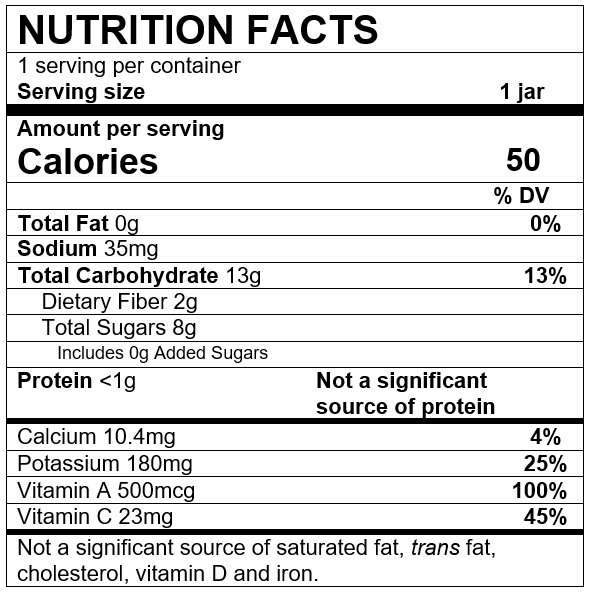 Nutrition Facts Carrot Apple Pear