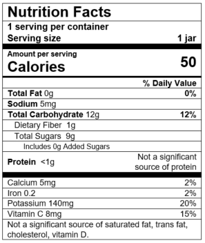 Nutrition Facts Apple Zucchini Peach