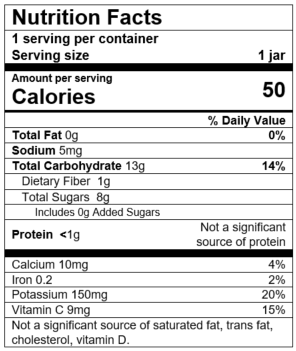 Nutrition Facts Pear Zucchini