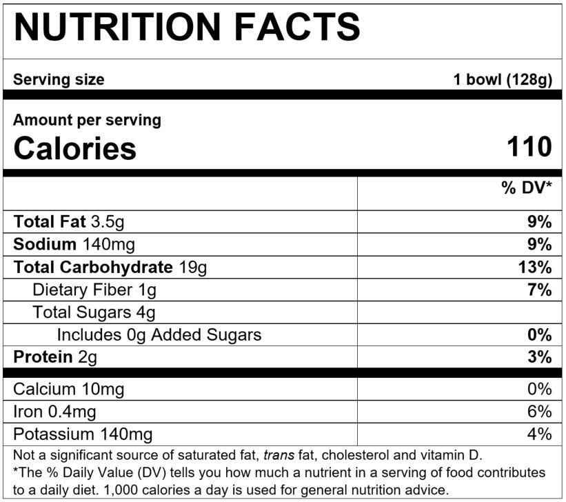 Nutrition Facts Mealtime Harvest Bowl