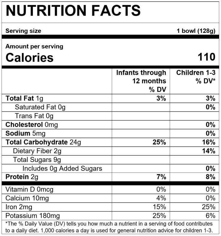 Nutrition Facts Grain and Grow™ Morning Bowl