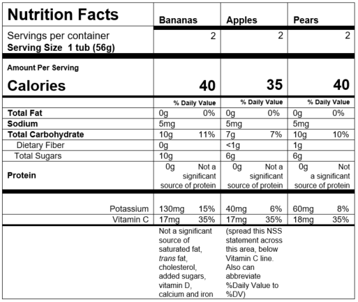 Nutrition Facts My 1st® Fruits Starter Kit