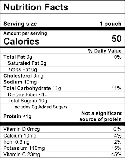 Nutrition Facts Apple Zucchini Spinach Strawberry