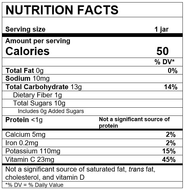 Nutrition Facts Apple Strawberry Beet