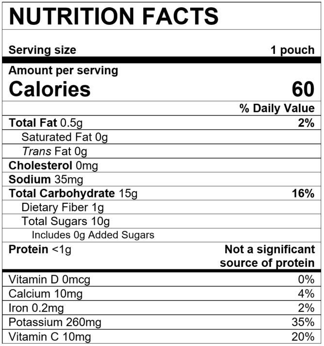 Nutrition Facts Purple Carrot Banana Acai with Cardamom