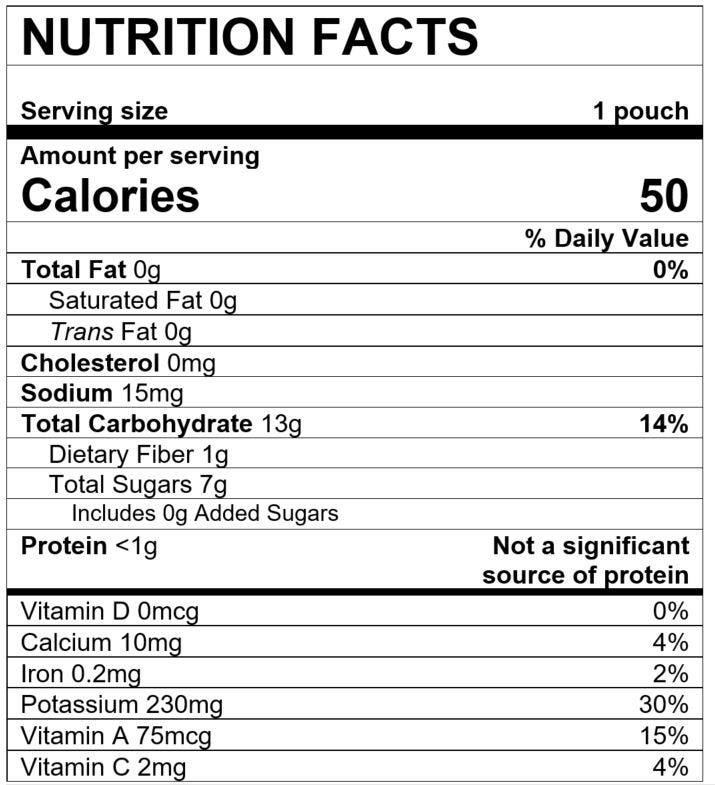 Nutrition Facts Squash Apple Sweet Potato