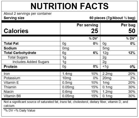 Nutrition Facts Puffs to Go