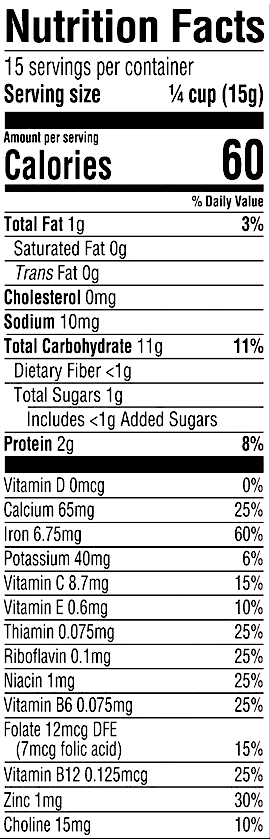Nutrition Facts Oatmeal Millet Quinoa