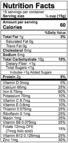 Nutrition Facts Oatmeal